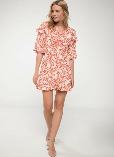 DeFacto Çiçek Desenli Mini Elbise Ekru